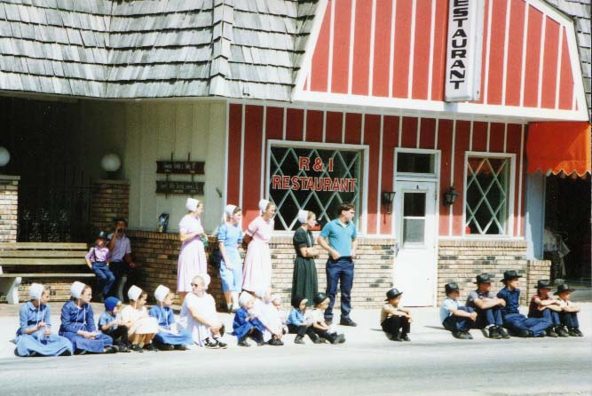 Amish Children Watching a Parade
