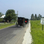 Two Illinois Amish buggies, north of Arthur
